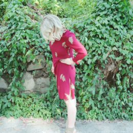 Maroon Asian-Inspired Vintage Sheath Dress
